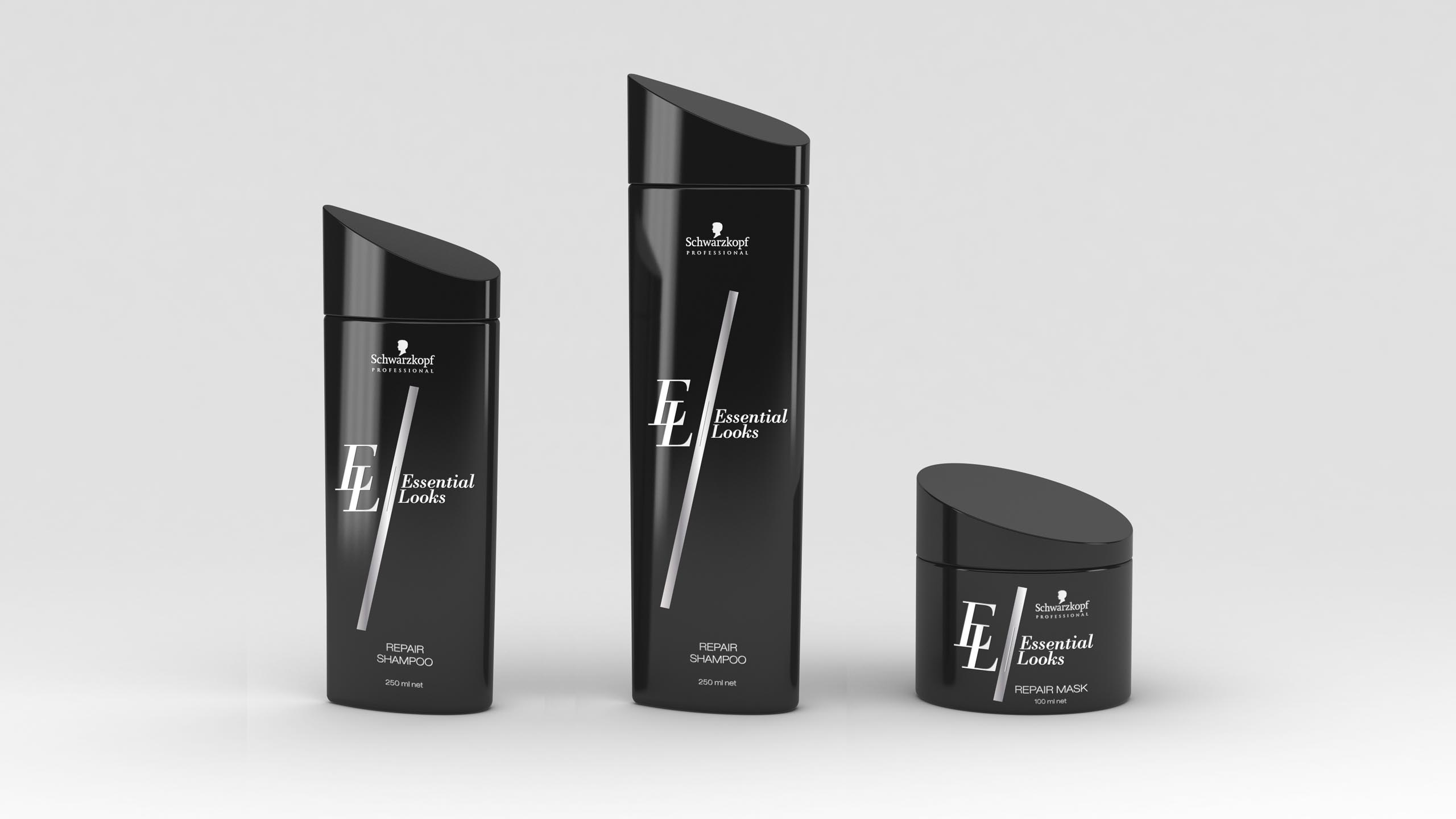 packaging design study for Schwarzopf Professional